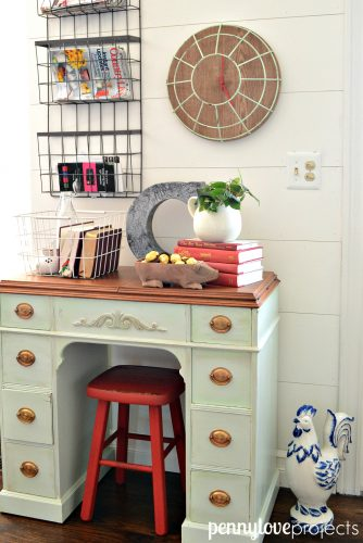 Repurposed sewing desk