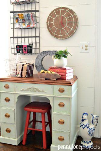 Repurposed sewing desk