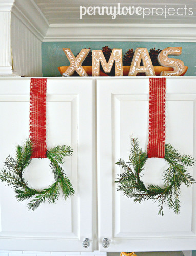 Holiday Home Tour Kitchen Cabinet Wreaths