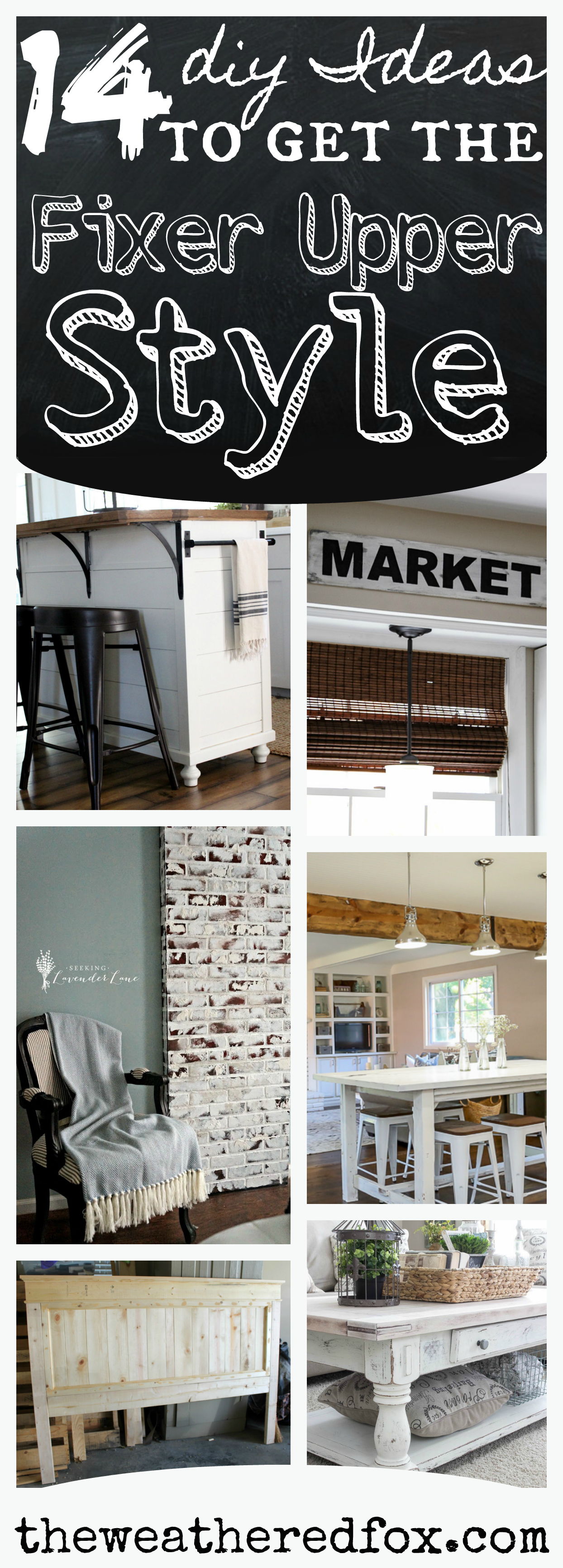 14 DIYs to add Fixer Upper Style It's no secret that Joanna Gaines has the world on a string. But you don't need to be a guest on the HGTV show to get the look! Here are 14 #diy projects to bring the #farmhouse style to your home.