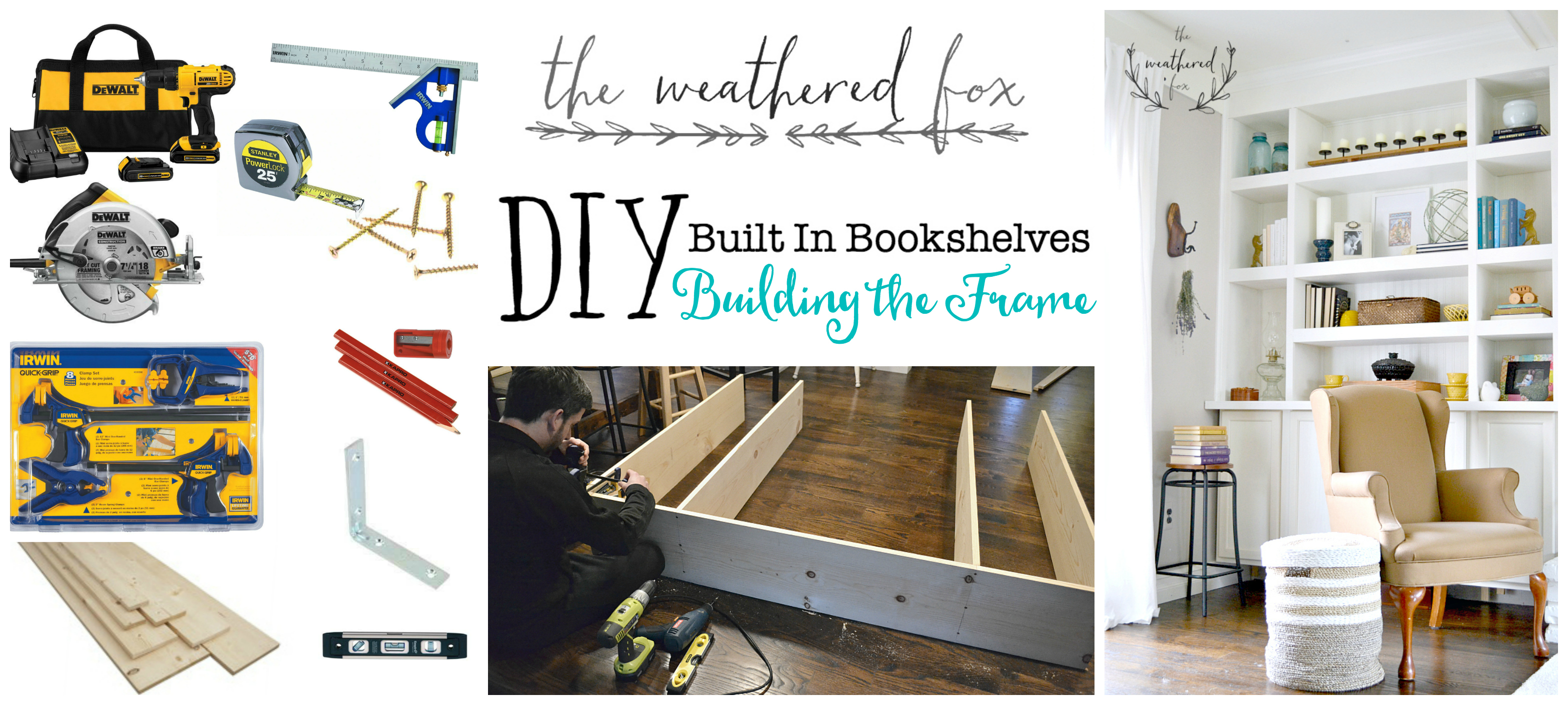 Built In Bookshelves Part Two. Building the frame tutorial with the weathered fox