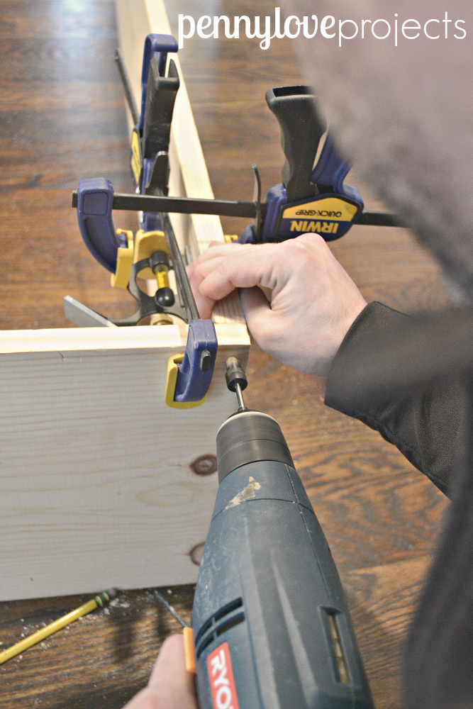 DIY Built Ins drill holes and use a countersink to bury the screws