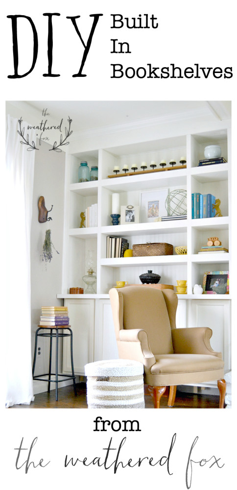DIY Built in fireplace bookshelves from the weathered fox ...