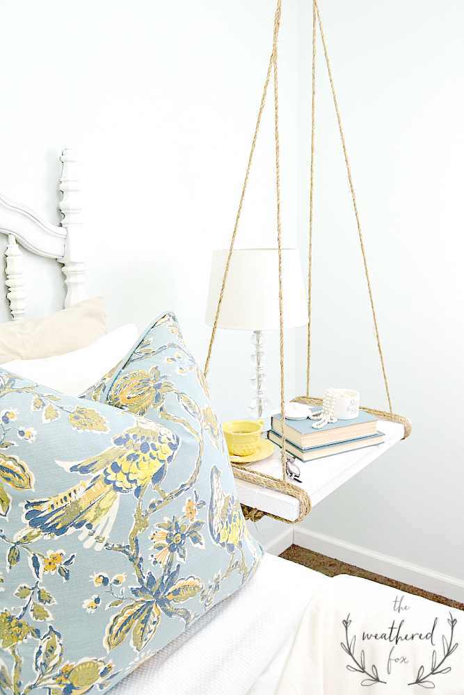 Hanging Nightstand DIY via The Weathered Fox