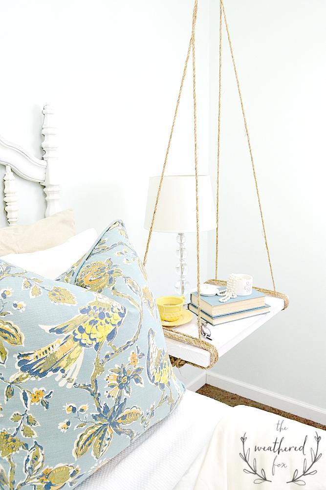 Hanging Nightstand DIY via The Weathered Fox