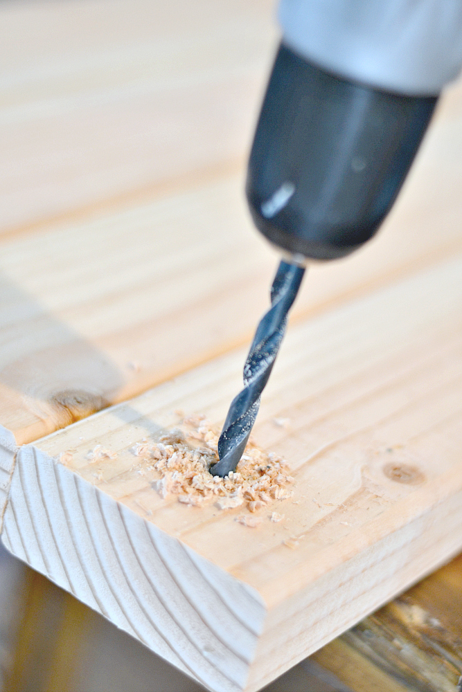 Hanging Nightstand Drill Holes for rope