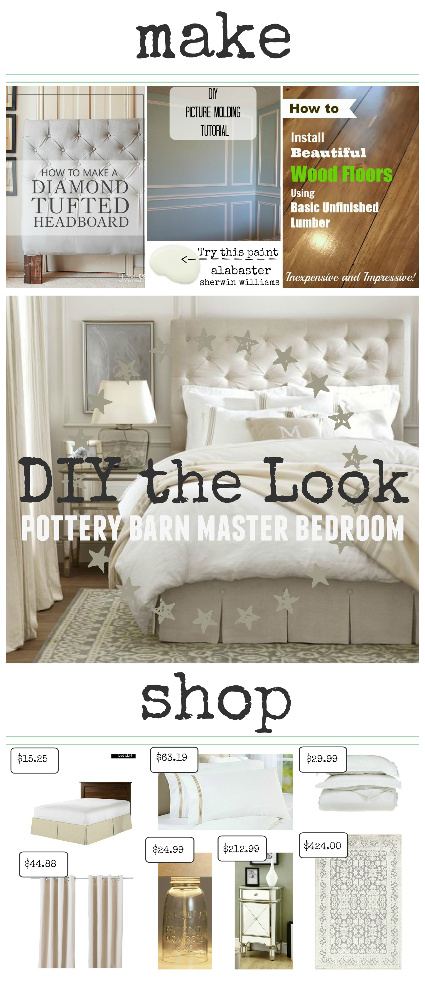 Pottery Barn Master Bedroom. DIY the Look. You don't have to spend a lot of money to have a gorgeous space. I show you how to make and shop to get the look of your favorite spaces! | theweatheredfox.com