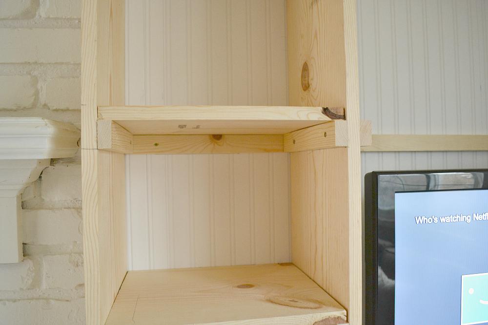 Built In Bookshelves Tacking the Shelves