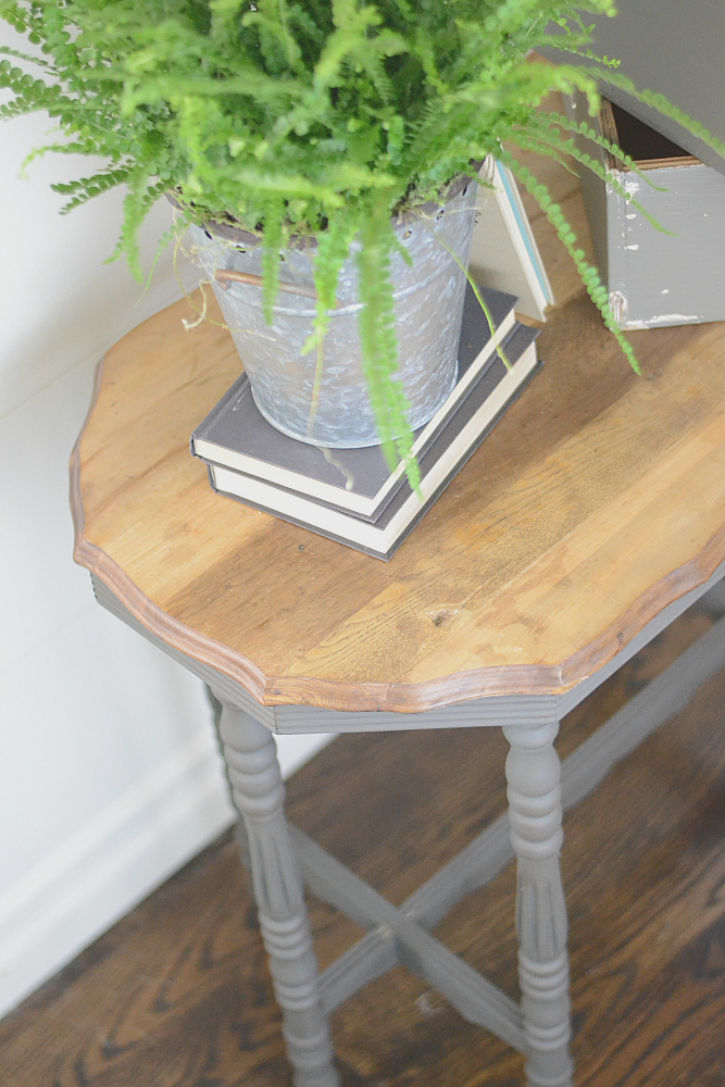 gray side table embracing the imperfections