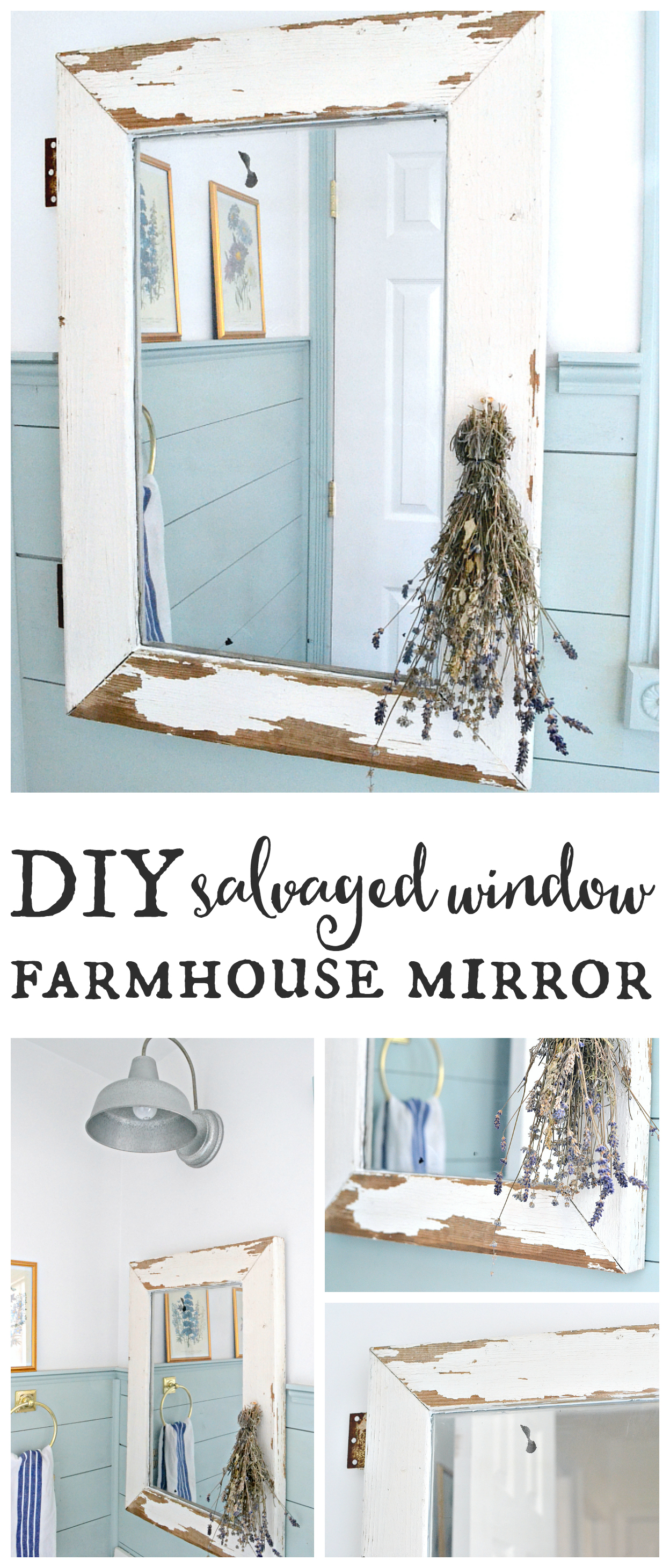 Salvaged window farmhouse mirror. Turn a salvaged window into a farmhouse mirror in just a few easy steps! Find it on theweatheredfox.com