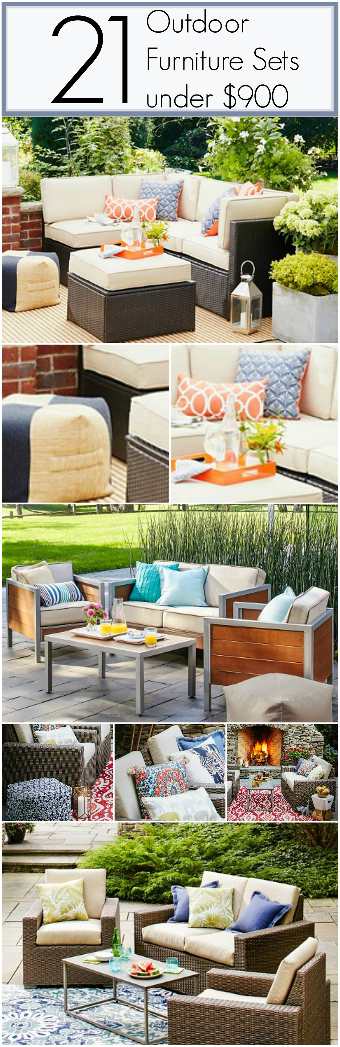 21 Inexpensive Outdoor Furniture Sets all under $900. Most of these are under $700!