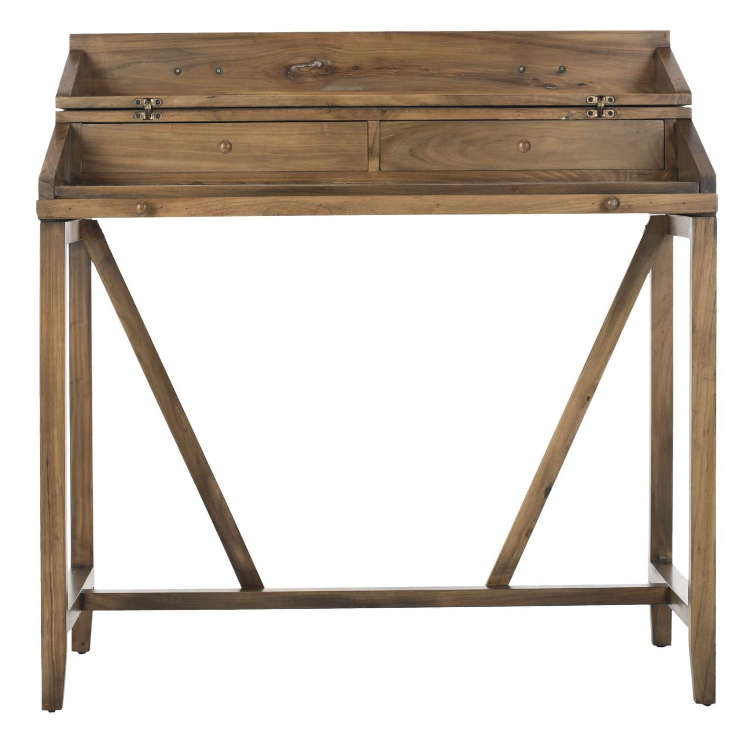 Wood secretary desk. Great idea for a dual purpose vanity and nightstand in a farmhouse bedroom. Farmhouse Bedroom Design. Create a romantic bedroom with this french country farmhouse bedroom decor. Go to theweatheredfox.com to buy farmhouse bedroom products and decor!