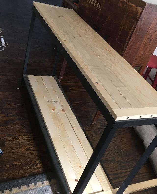 Industrial farmhouse sofa table DIY