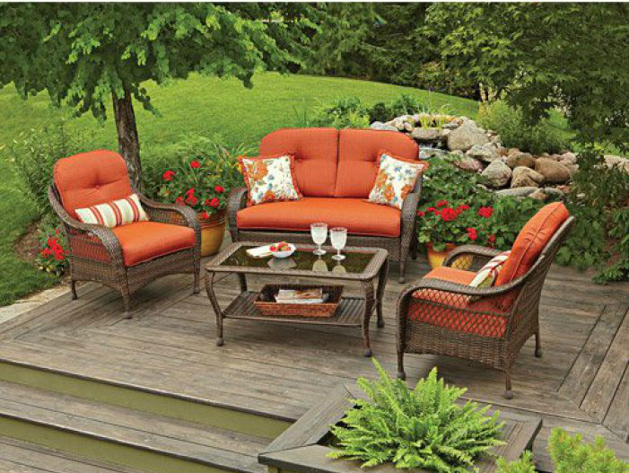 orange cushion outdoor furniture set