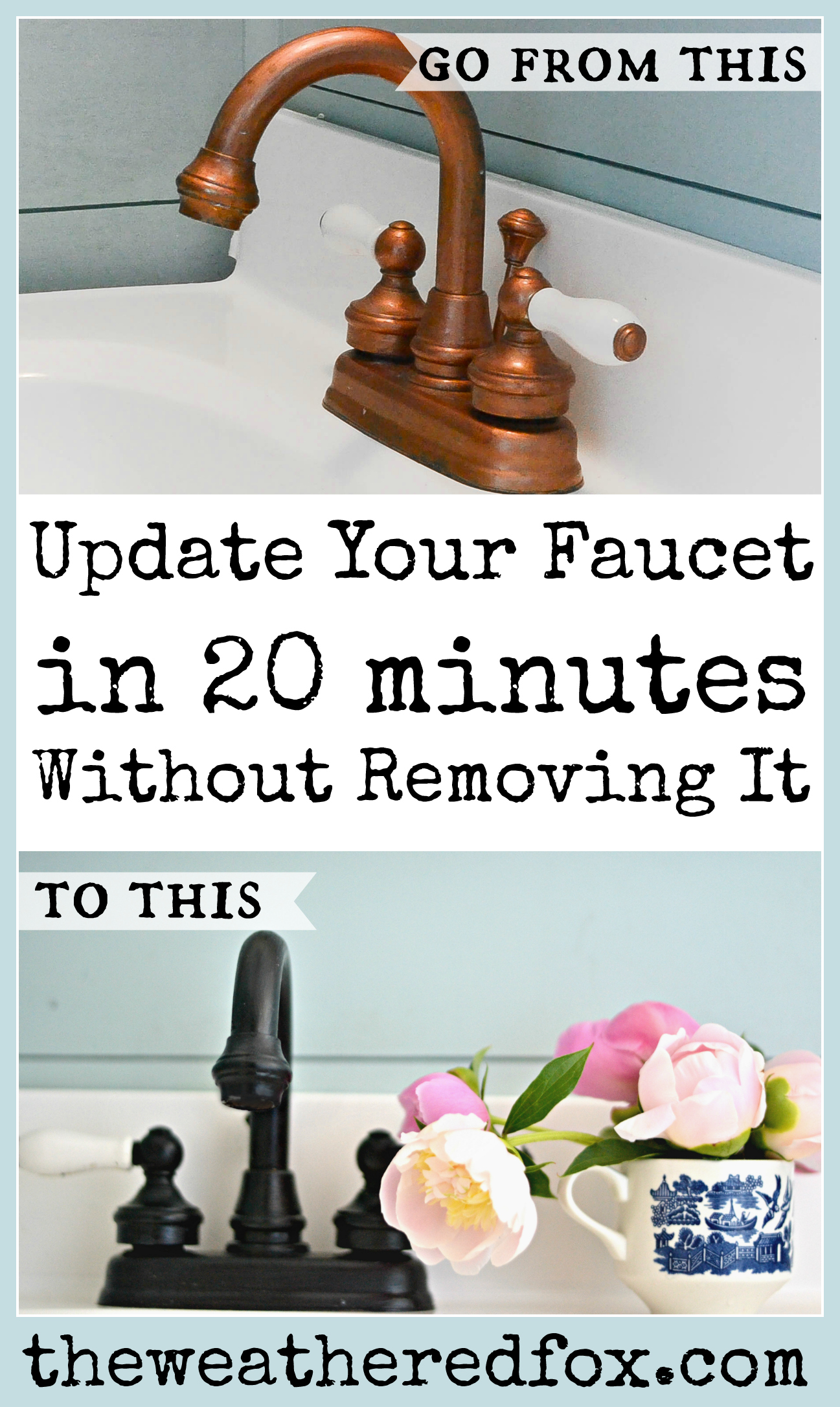5 Easy Steps to an updated painted faucet. How to paint a faucet. Paint your faucet while it's still on the sink. This is a super fast way to add value to your home! Saving this for later!