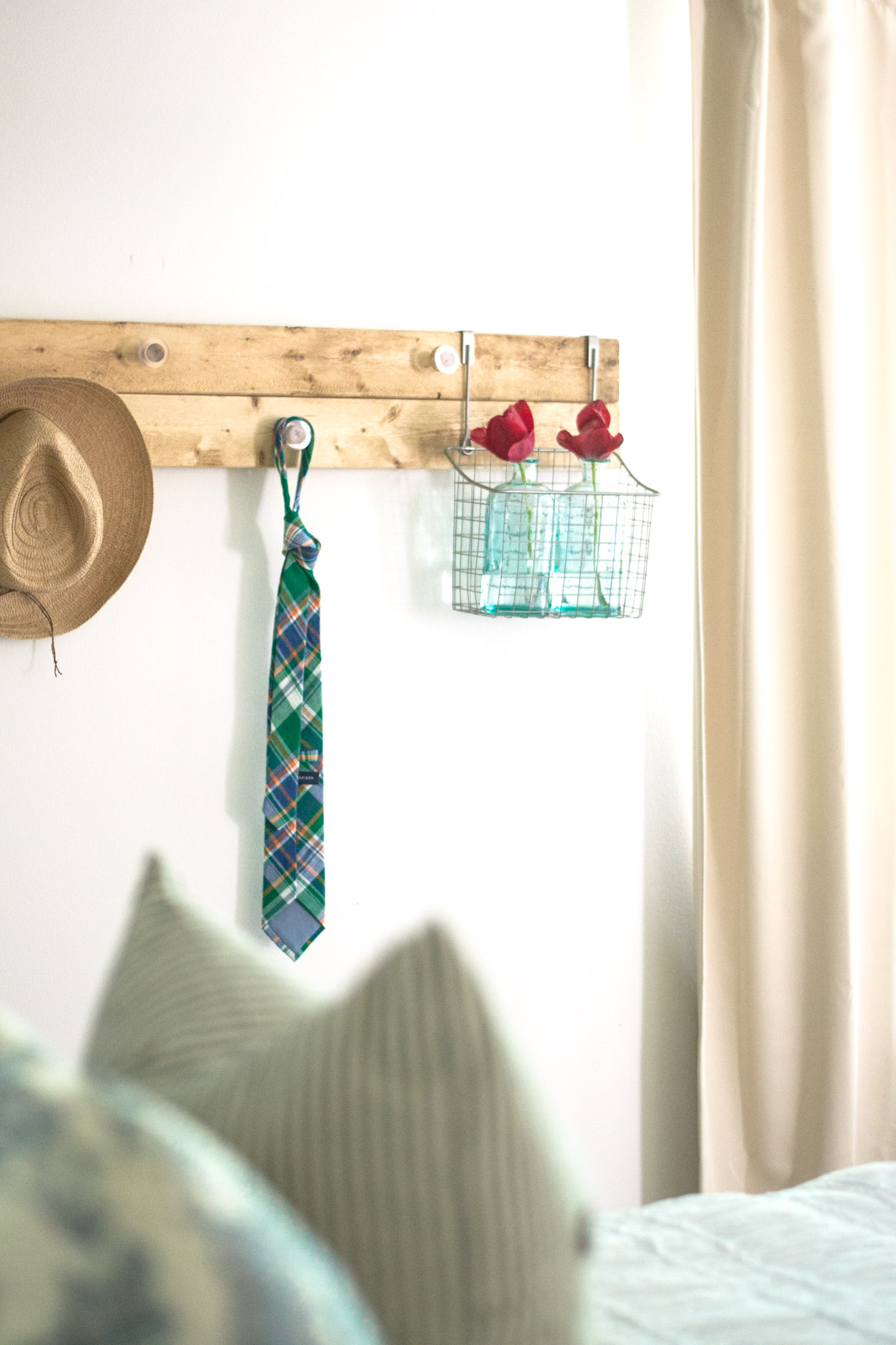 DIY Wall Rack for bedroom. Easy way to keep clutter off the floor and dresser!