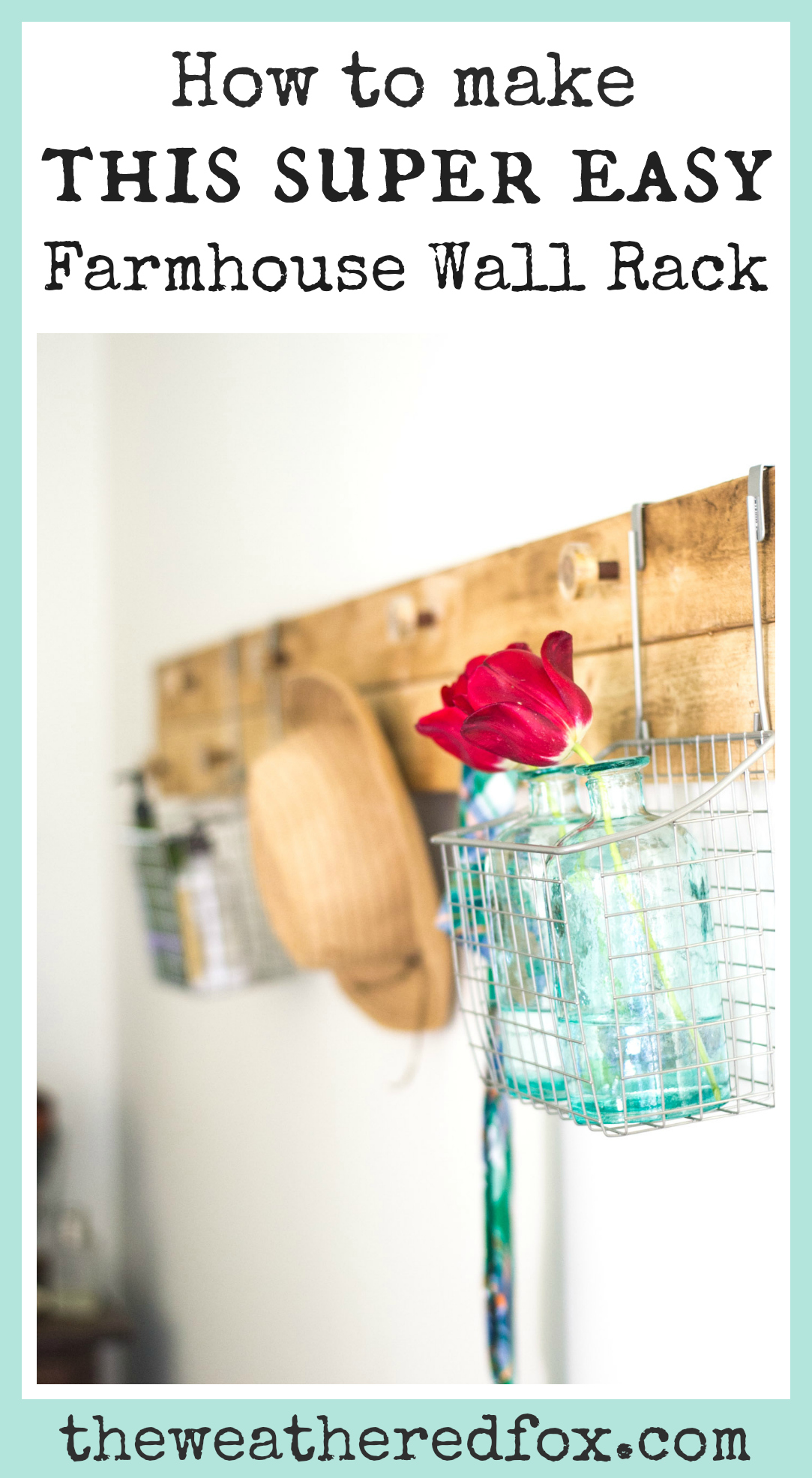 Farmhouse Wall Rack DIY. Make this super easy rustic wall rack and keep your home organized! How to keep your bedroom clean