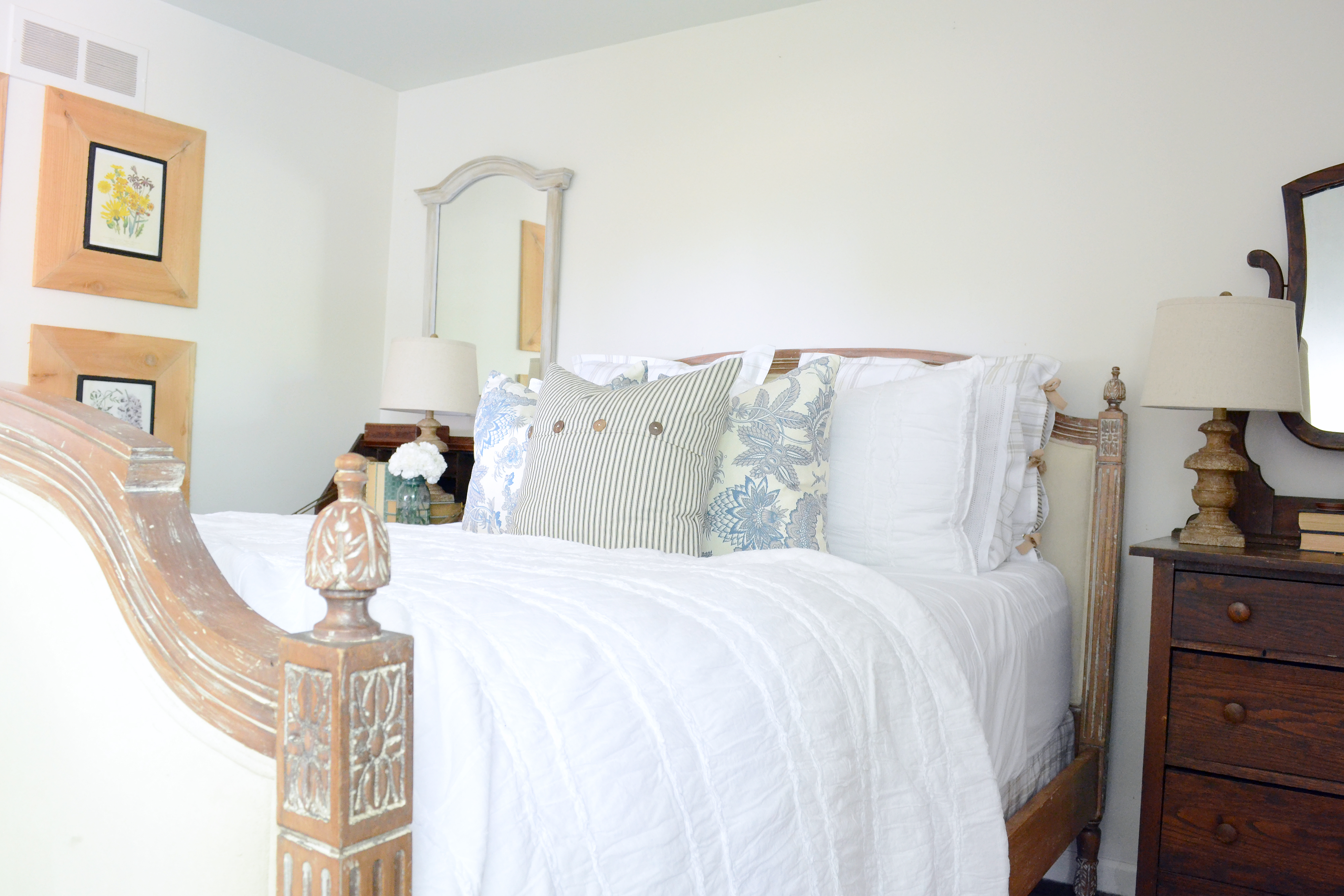 Farmhouse bedroom on a budget. Create a new space using old stuff