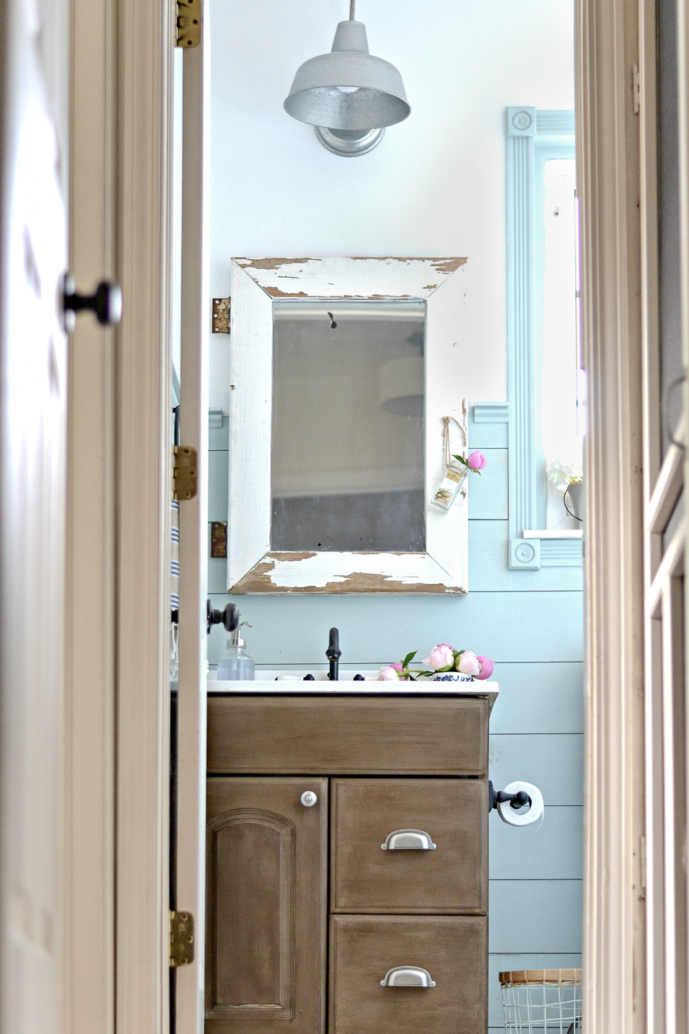 DIY Painted vanity update. Upgrade your vanity instead of replacing it with this tutorial!
