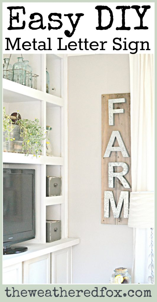 Easy DIY Metal Letter Sign. I love this DIY farmhouse sign! I need to pick up some pallet wood and some metal letters. Can't wait to try it! So Easy!