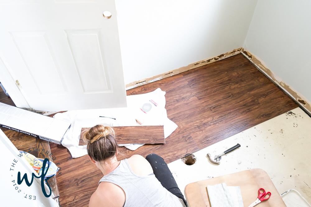 Vinyl Floors In Laundry Room Makeover, Vinyl Plank Flooring Basement Drain