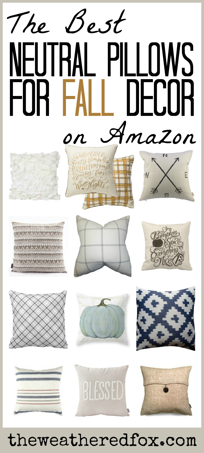 Neutral Fall Pillows On Amazon The Weathered Fox