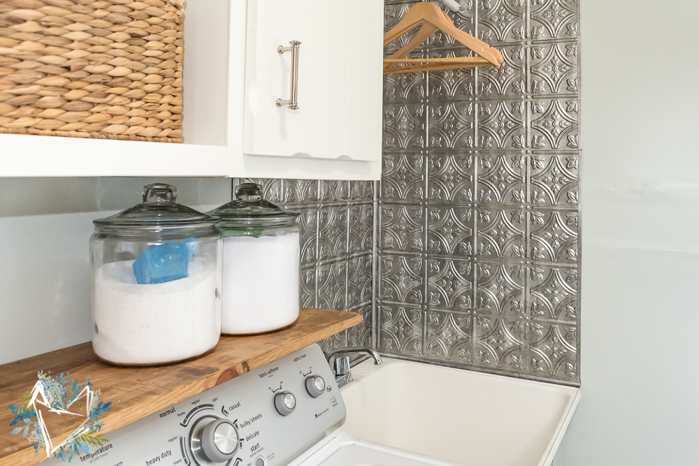 utility sink makeover with faux tin backsplash 15
