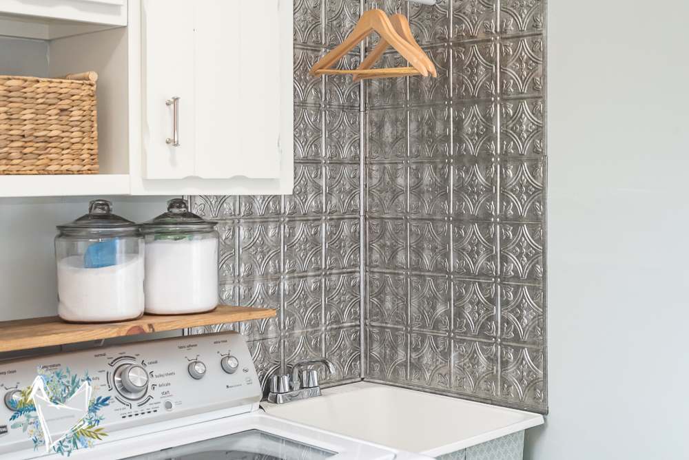 utility sink makeover with faux tin backsplash 16