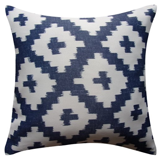 Blue pattern neutral fall pillow