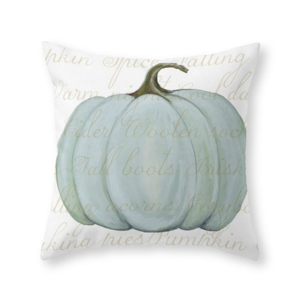 blue pumpkin neutral fall pillows
