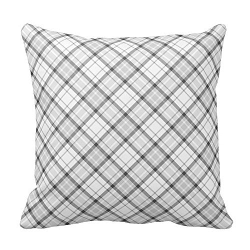 gray plaid neutral fall pillows