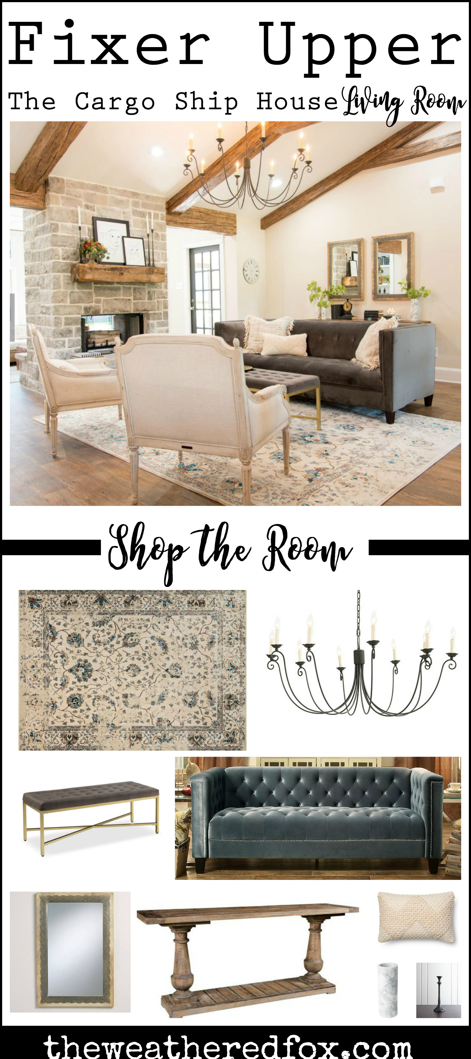 Fixer Upper Cargo Ship House Living Room Shop the Room. Buy products you see on Fixer Upper Season 4