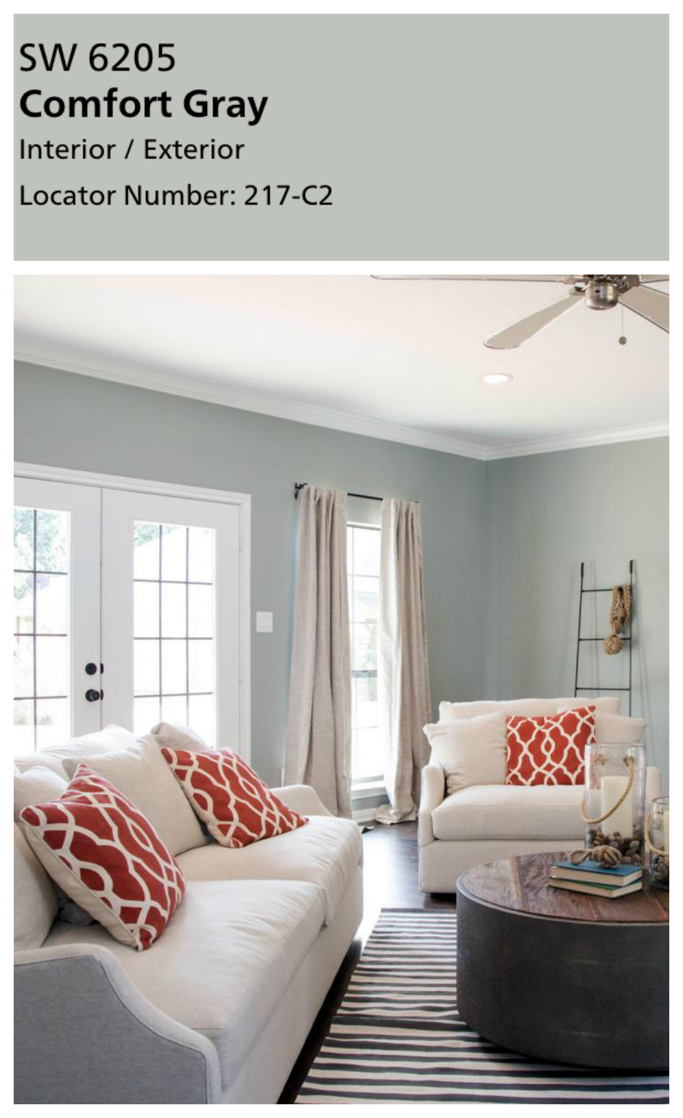Joanna's favorite paint colors. Sherwin Williams Comfort Gray really isn't very gray at all in my opinion. It's another dusty blue green. And I'm in love with it! Joanna uses this color in living rooms and bedrooms that need a color that a little more bold, but this color is never overbearing! Perfect for a guest room or office.
