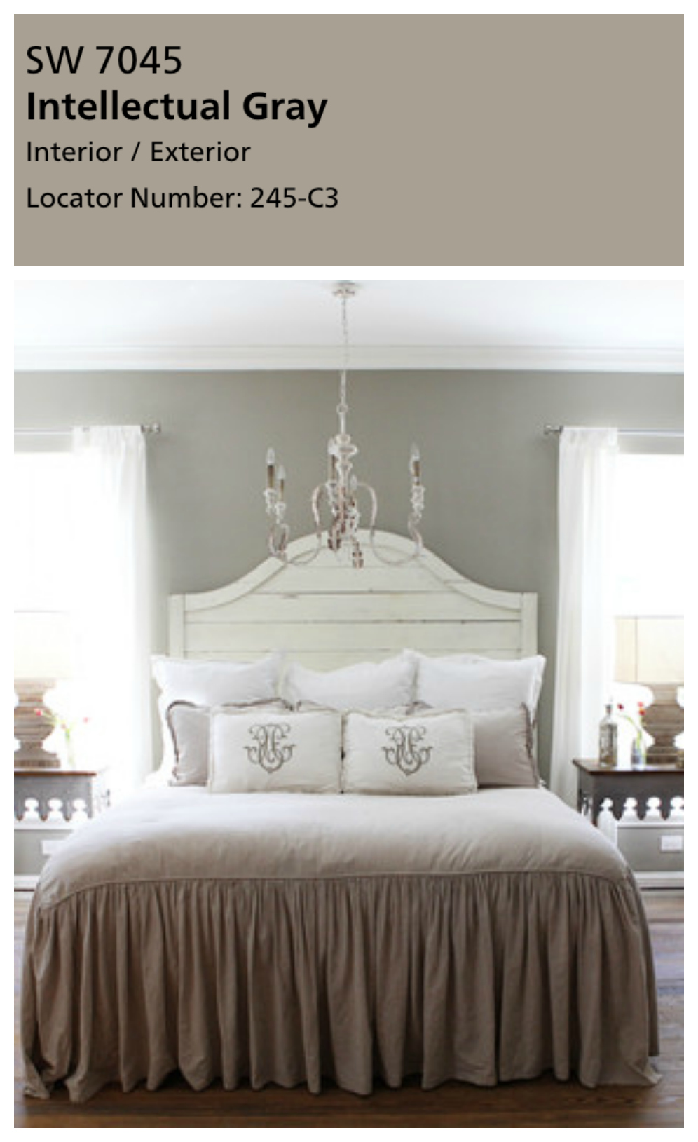Fixer Upper Master Bedroom paint color. A master bedroom is the perfect place for sherwin Williams Intellectual Gray. This color has a beautiful warmth to it, especially against a wood floor. Joanna used this color for her master bedroom and I just can't get enough! Be careful though, if your bedroom doesn't have great natural light, this color might be a mistake.