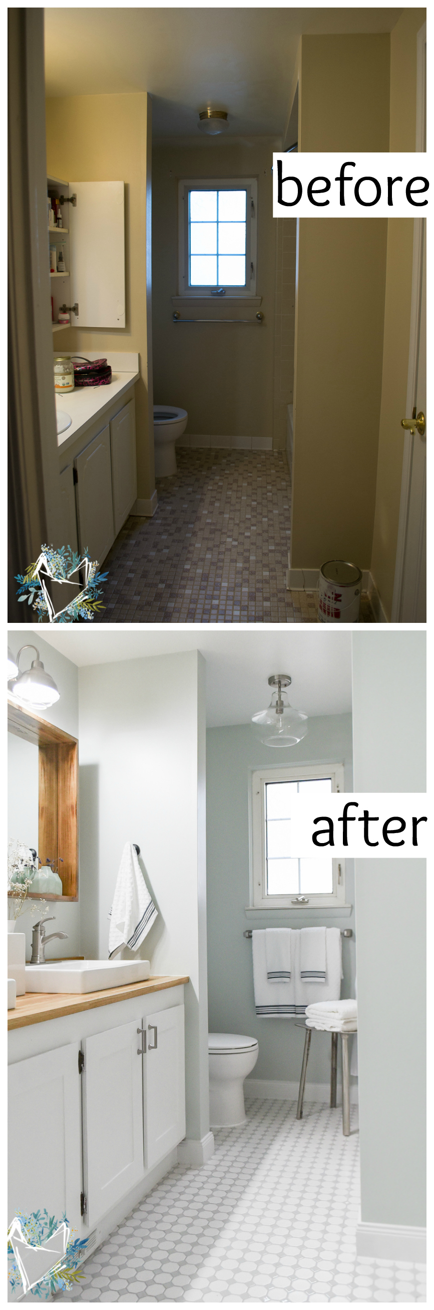 before and after modern farmhouse bathroom renovation! You have to see how this bathroom makeover was done on a budget!