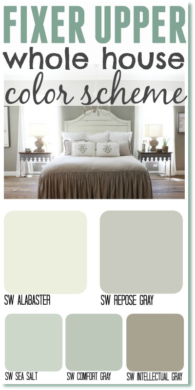 Repose Gray Master Bedroom Fixer Upper whole house color scheme. Get the Fixer Upper look by using  Joannau0027s most