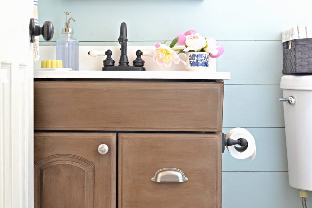 How to paint a laminate vanity to look like weathered wood.