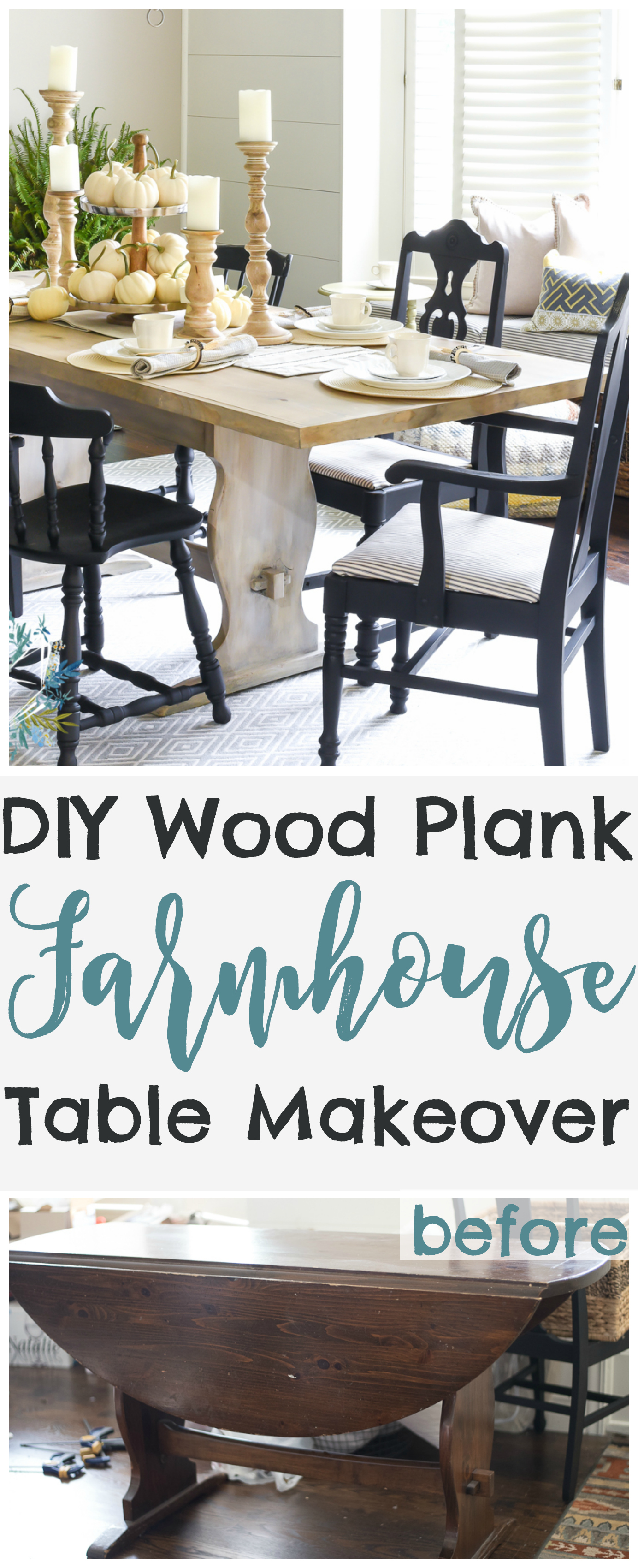 DIY farmhouse table makeover from a thrift store table