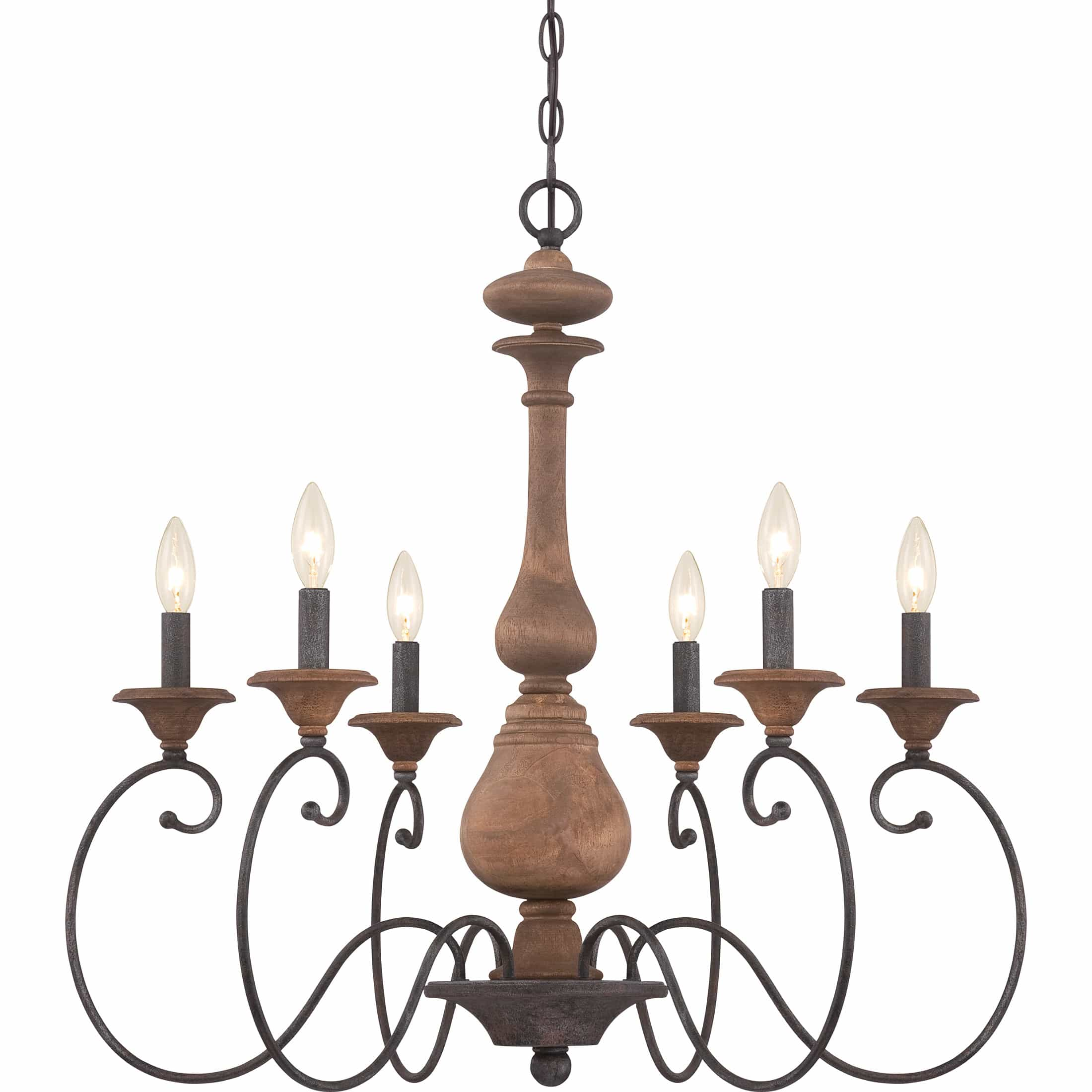 Fixer Upper Lights Get the fixer upper look with this wood and iron chandelier