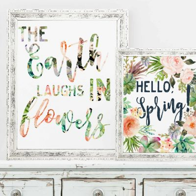 Free Spring Printables. The earth laughs in flowers. Hello spring!