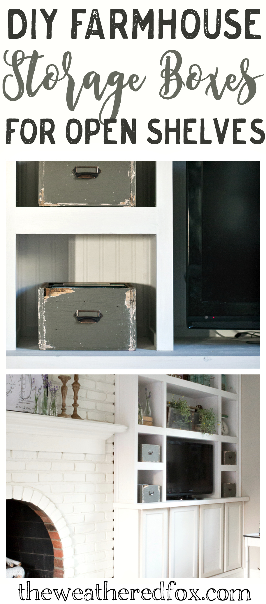 How to make farmhouse storage boxes for open shelves.