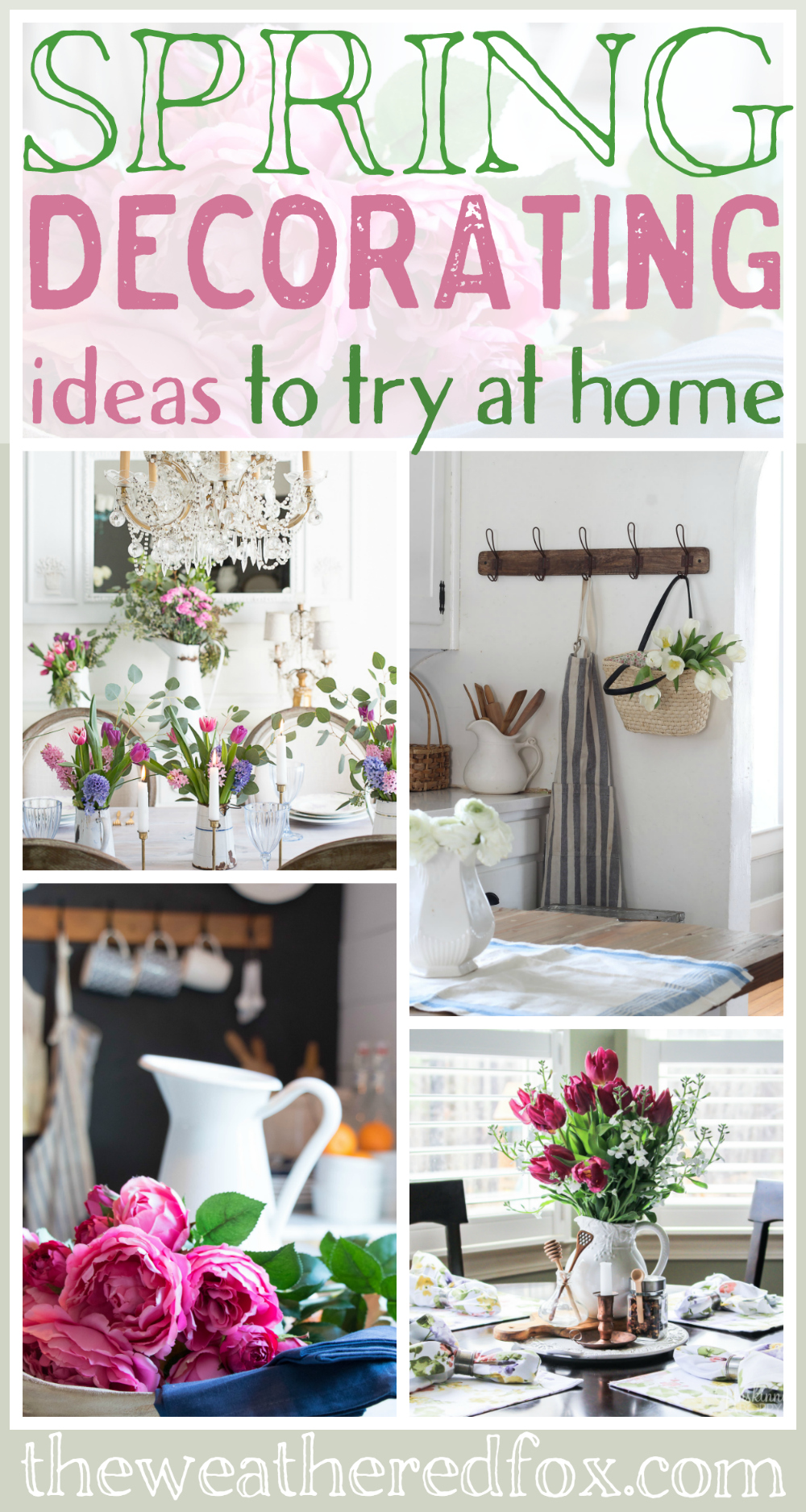 Spring Decorating Ideas to try at home. Recreate gorgeous farmhouse style rooms with these spring farmhouse tours.