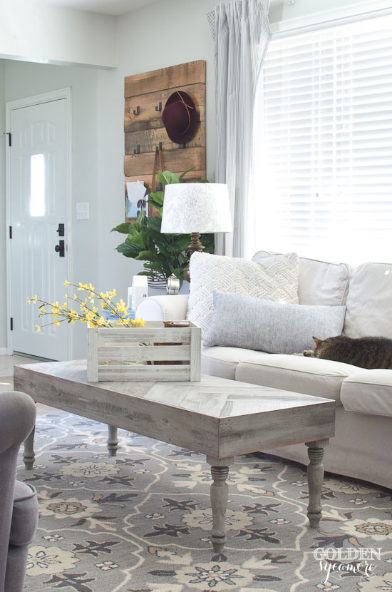 Spring Farmhouse Tour. A Rustic Spring Living Room from the Golden Sycamore.