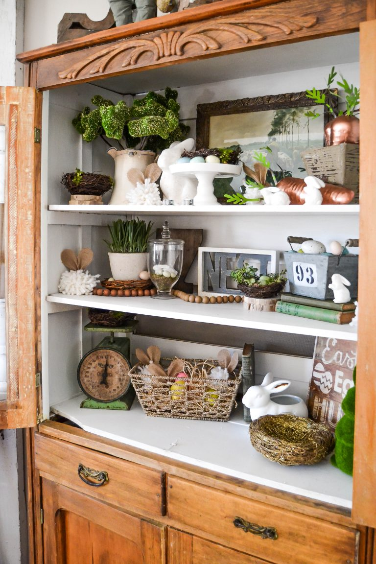 Spring Farmhouse Tours. Add touches of spring by displaying items in your favorite hutch