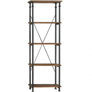 fixer upper style industrial wood bookshelf