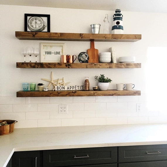 Admirable Floating Wood Shelves Fixer Upper Style The Weathered Fox Interior Design Ideas Ghosoteloinfo