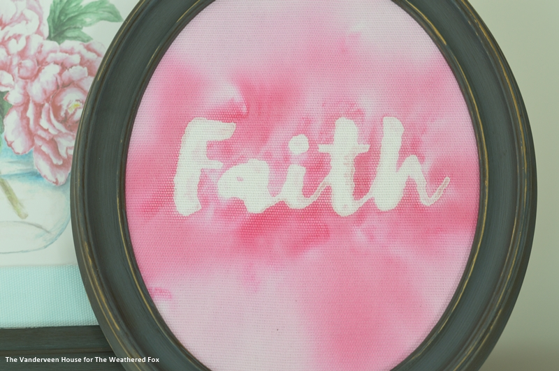 DIY watercolor word art using fabric paint