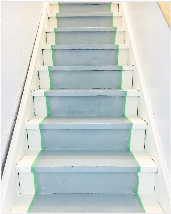 How to paint basement stairs. Turn your basement stairs into a cute farmhouse style with this simple tutorial.