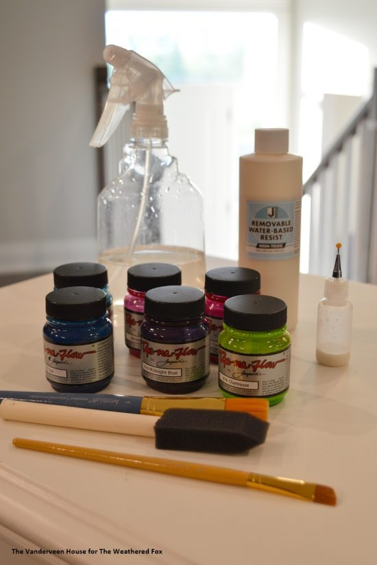 Supplies for watercolor word art on fabric