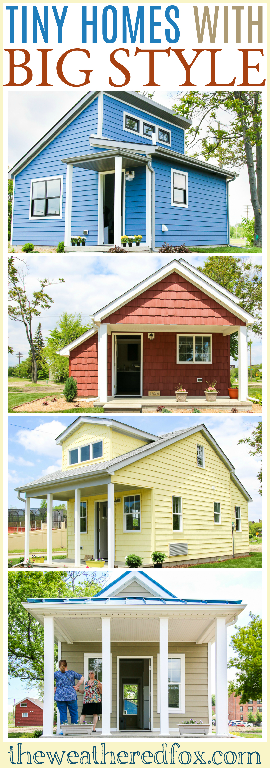 Tiny homes Big style. Take a tour of this charming tiny home neighborhood in Detroit, Michigan. Get style ideas for your tiny dream home!
